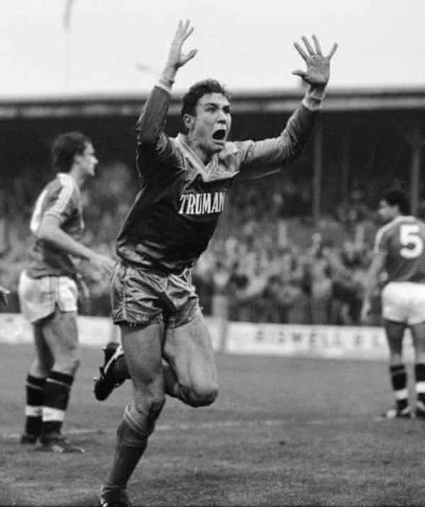 Wimbledon's Vinnie Jones celebrates scoring the game's only goal during the Division One match against Manchester Utd at Plough Lane on 29 November 1986