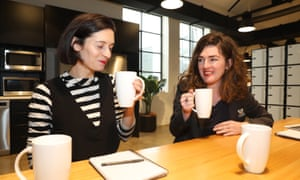 Bonnie Malkin and Bridie Jabour testing cups of tea at Guardian Australia.