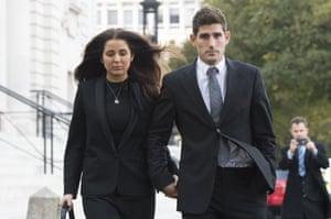 Cardiff, Wales: Football player Ched Evans leaves Cardiff Crown Court with partner Natasha Massey