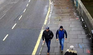 A handout photo issued by the Metropolitan police showing novichok poisoning suspects Alexander Petrov and Ruslan Boshirov on CCTV on Fisherton Road, Salisbury on 4 March 2018.
