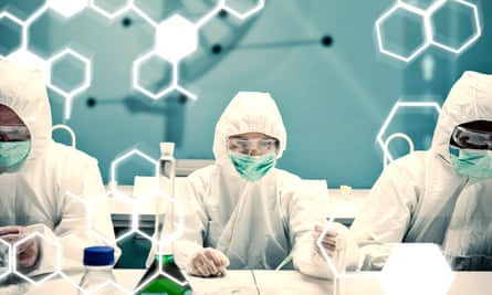Composite image of chemists working in protective suit with futuristic interface showing DNA diagram.