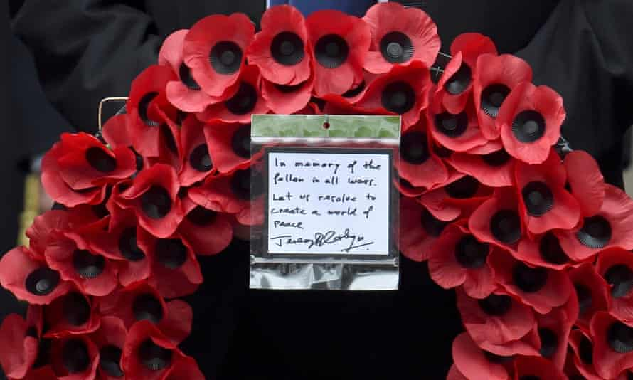Wreath laid by Jeremy Corbyn at the Cenotaph.