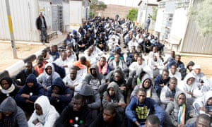 Migrants in a detention camp in Gheryan, outside Tripoli, in 2016 after being detained while trying to reach Europe illegally.