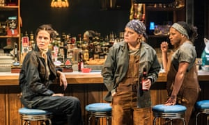 Leanne Best (Jessie), Martha Plimpton (Tracey) and Clare Perkins (Cynthia) in Sweat at Donmar Warehouse, London.