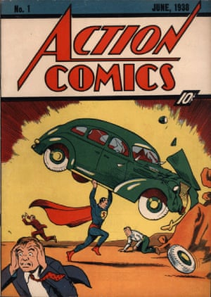 A rare copy of the first comic book – Action Comics cover dated June 1938 – featuring Superman.