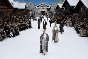 ChanelThe final Chanel collection designed by Karl Lagerfeld before his death last month, took place in a snowy alpine ski resort in the Grand Palais in Paris. Log cabins lined the snow covered catwalk. Opening with wide trousers and long coats in oversized tweed and dog tooth in black and white. Intarsia knit skirts and jumpers rifted on traditional fairisle and nordic styles. A brightly coloured section took its palette cues from 90s ski suits (think Princess Diana at Lech). The LBD was replaced with a white out finale, headed up by Penelope Cruz in a white frilled top and fluffy skirt. --