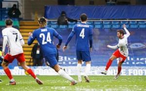 Luton Town's Jordan Clark scores their first goal.