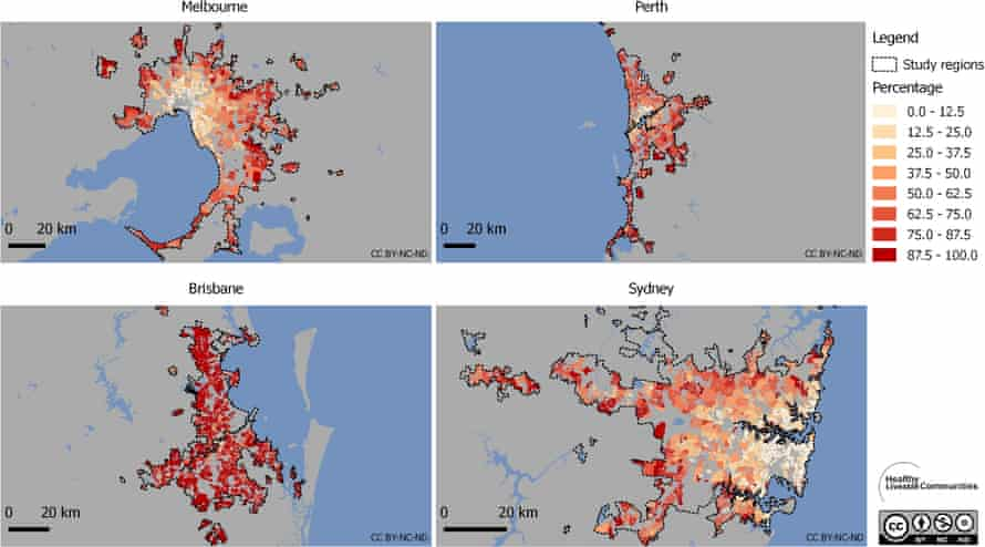 Percentages of residences by suburb without access to an off-licence within 800 metres.