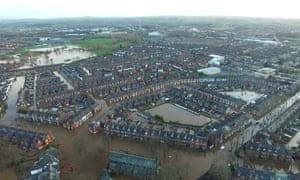 Flooded streets in Carlisle, Cumbria, after Storm Desmond's arrival in the first week of December 2015.