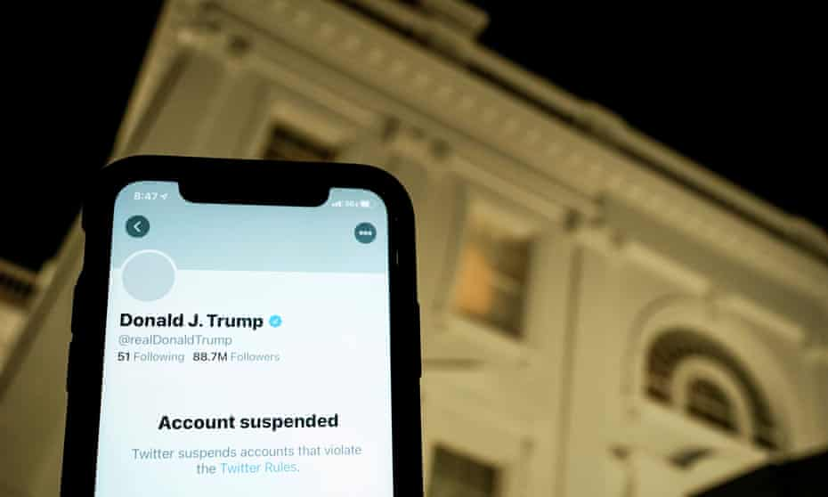 Twitter suspended Donald Trump's account two days after the 6 January insurrection at the Capitol.