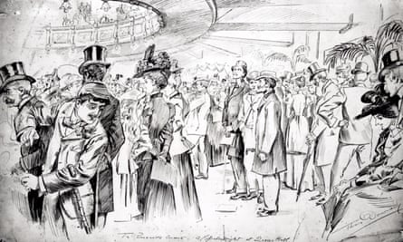 'Smoking is permitted in every part of the building' … a large crowd at a promenade concert at Queen's Hall, London, in 1898. Artist: Thomas Downey.