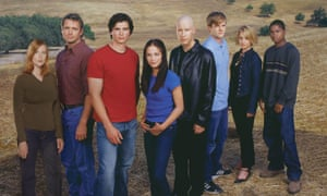 Small-town boy... Tom Welling (third from left) and the Smallville cast