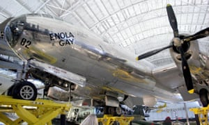 The restored Enola Gay, the Boeing B-29 Superfortress airplane used to drop the first atomic bomb in combat 6 August 1945 on Hiroshima, Japan, is seen on display at the National Air and Space Museum in Virginia.