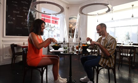 Shielded dining at H.A.N.D restaurant in Paris in May as the city eased out of lockdown.