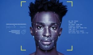 Facial recognition software applied to a young black man's face