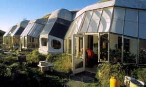 Sustainable eco homes in Torup eco village, Denmark.The ecohouses have a turf roof and are partially buried to conserve heat.