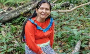 Elena Valera Vasquez, a Shipiba maestra working with ayahuasca at the Temple of the Way of Light near Iquitos in Peru's Amazon.