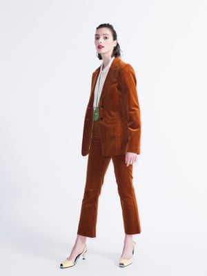 Model wears corduroy blazer, £89, and trousers, £49, both stories.com. Shirt, £32, warehouse.co.uk. Purse, £195, by Jacquemus, from matchesfashion.com. Shoes, £290, yuulyieshop.com.