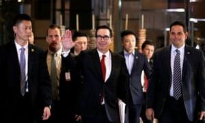 Steven Mnuchin, Trump's treasury secretary, with his trade delegation in China.
