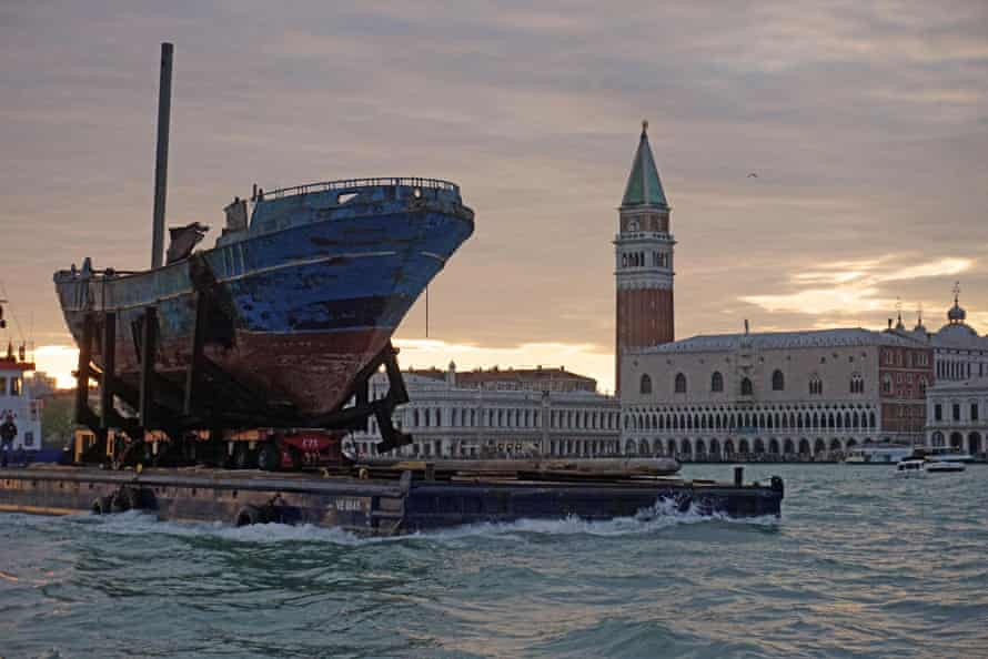 The arrival in Venice of Swiss artist Christoph Büchel's Barca Nostra, his artwork using the fishing boat that sank off Lampedusa in 2015 with more than 800 migrants onboard.