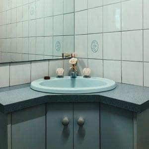Blue bathroom.