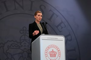 Denmark's Prime Minister Mette Frederiksen addresses a press conference at the state department in Copenhagen