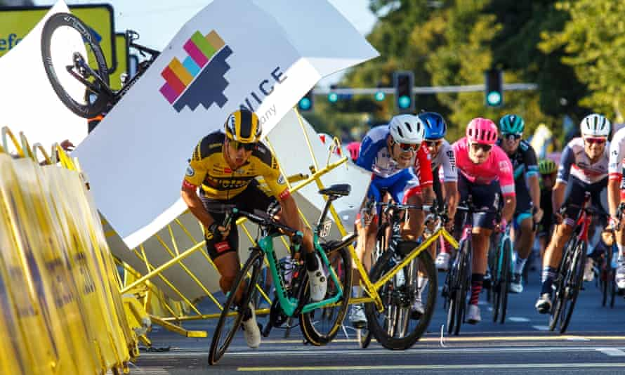 Dylan Groenewegen (front left) was blamed for the collision at the stage one finish of the Tour of Poland that caused Fabio Jakobsen to crash through the barriers into an official.