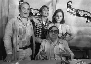 Audran, second left, at a press conference for the film Violette Nozière in 1978 in Cannes, with the director Claude Chabrol, seated, and the actors Jean Carmet and Isabelle Huppert.