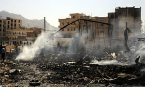 A building destroyed by an Saudi-led coalition airstrike Yemen's capital, Sana'a, this month.