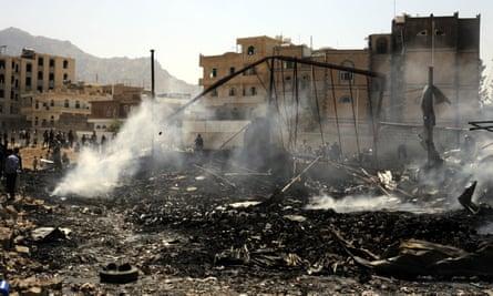 The scene of an airstrike in Sana'a