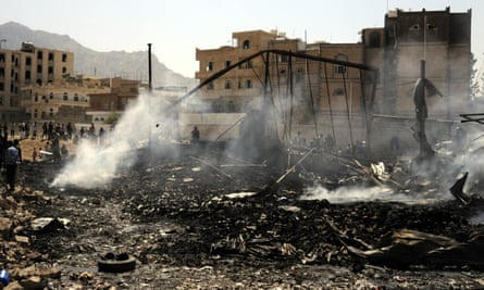 A building destroyed by a Saudi-led coalition airstrike