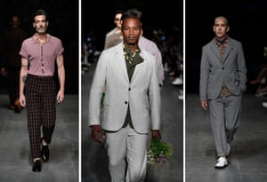 Oliver Spencer: The secret to sustainability is to make it look really good, and Spencer did just that with his Wildflower show, opened by the graceful Eric Underwood. The gentle, laid-back suits in linen and seersucker epitomised Ella Fitzgerald's immortal words 'Summertime, and the livin' is easy'. Extra points go to an unsartorial detail: gifting flowers to the frow at the end – nice touch.