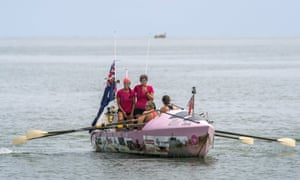 The Coxless Crew rowing into Cairns.