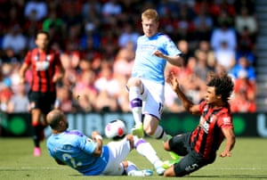 Manchester City's Kevin De Bruyne skips over the challenge between Kyle Walker and Bournemouth's Nathan Ake as City win 3-1 at the Vitality Stadium.