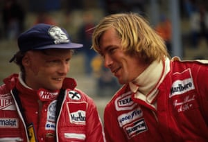 The pair, whose relationship became the subject of the film Rush in 2013, are pictured here at the Belgian Grand Prix in 1977. They won 35 races and four World Championships between them during their six-year rivalry. Lauda claimed the title for Ferrari in 1977.