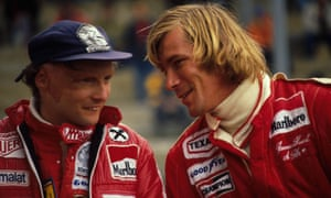 Niki Lauda and Britain's James Hunt at the Belgian grand prix in 1977