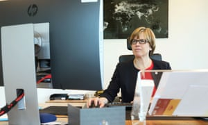 Catherine De Bolle head of Europol using a computer
