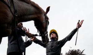 Frankie Dettori celebrates with Stradivarius after winning the Yorkshire Cup.