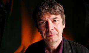 Crime writer Ian Rankin seen before speaking at the Edinburgh International Book Festival. 20 August 2015.