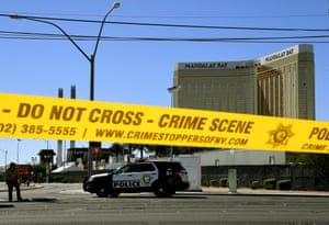 Crime scene tape surrounds the Mandalay Hotel Images