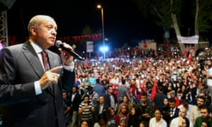 Turkish president Recep Tayyip Erdogan addresses the crowd who gathered in front of his residence in Kisikli to protest against the failed military coup attempt in Istanbul.