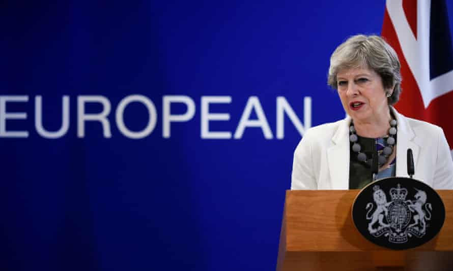 Theresa May gives a press during the EU leaders summit in Brussels. Leading ministers have agreed government should withdraw increased divorce bill offer if they are unhappy with final deal.