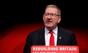 Len McCluskey speaking at the Labour conference.