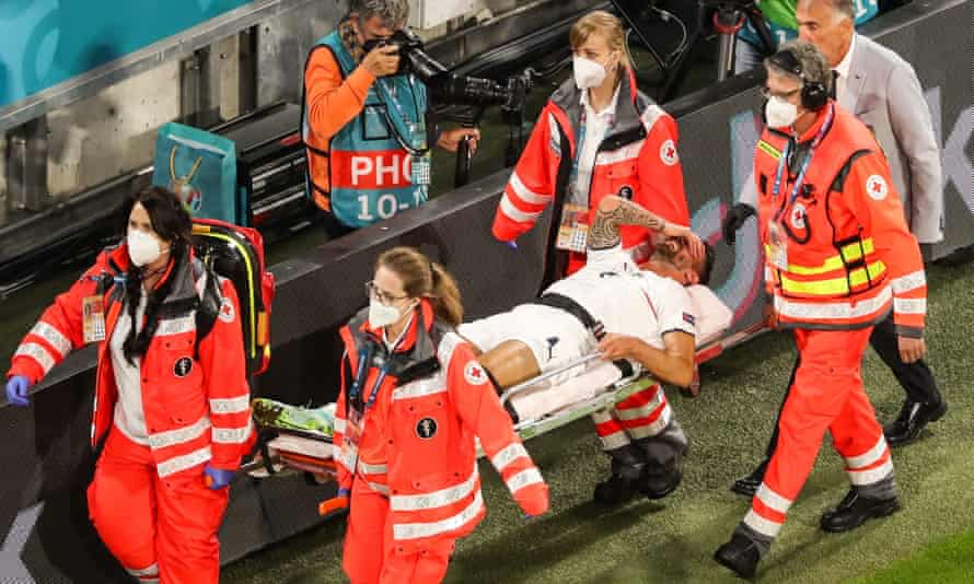 Italy's Leonardo Spinazzola is carried away on a stretcher after suffering his achilles injury in the Euro 2020 win over Belgium.