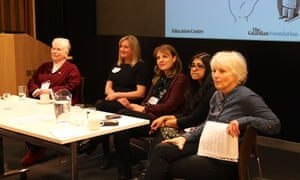 Panel and plenary with Prue Goodwin, Catherine Millar, Fiona Evans, Sanchita Basu Du Sakar and Julia Eccleshare at the Guardian Education Centre Reading for pleasure conference 5 March 2018.