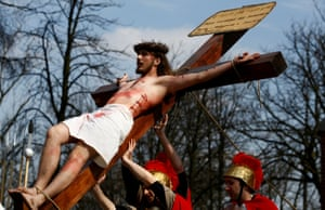Actors re-enact the story of the Crucifixion in Piekary Slaskie, Poland.