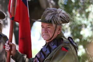 The light horse reenactment honour guard arrive for the Remembrance Day service at Anzac Grove in Gundagai, New South Wales