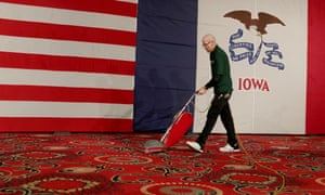 Sen. Bernie Sanders Hosts Watch Party On Night Of Iowa Caucus<br>DES MOINES, IOWA - FEBRUARY 03: A man vacuums after democratic presidential candidate Sen. Bernie Sanders (I-VT) addressed supporters at his caucus night watch party on February 03, 2020 in Des Moines, Iowa. Iowa is the first contest in the 2020 presidential nominating process with the candidates then moving on to New Hampshire. (Photo by Joe Raedle/Getty Images)