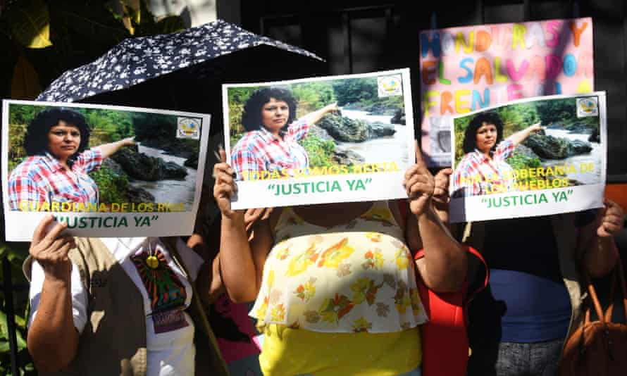 Activists protest against the death of Berta Cáceres. Seven men were convicted of carrying out the murder but Castillo is the only person so far charged with masterminding the crime.