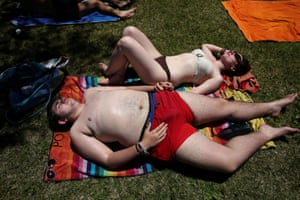 July 2017: Gabriel and his girlfriend Ruth relax by a pool in Madrid